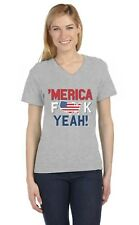AMERICA F*CK YEAH! Patriotic USA Flag 4th of July V-Neck Women T-Shirt Day
