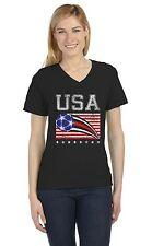 USA Womens Soccer Ball | Flag World Championship 2015 V-Neck Women T-Shirt US