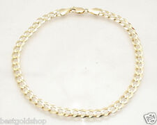 5.7mm Solid Curb Cuban Link Ankle Bracelet Anklet Real 14K Yellow Gold