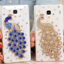 Shine Peacock Bling Transparent Clear Crystal Diamonds Hard Back Case Cover #1