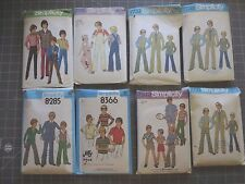 VINTAGE 1970'S SIMPLICITY BOYS PATTERNS: OVERALLS,SUITS, PLAY CLOTHES $3.50 EACH