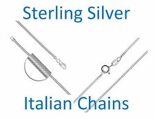 16, 18, 20 inch Sterling Silver 925 Curb or Snake Chain Necklace Italian, UK