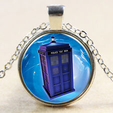 Doctor Who Necklace TARDIS Police Box Glass Photo Art Pendant Chain Charm Gift