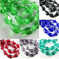 20pcs Faceted Glass Crystal Teardrop Spacer Loose Beads Findings Charms 10x15mm