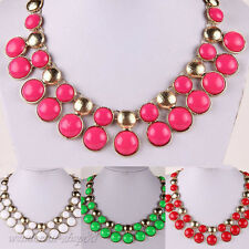 Fashion Gold Plated Alloy Bib Choker Pendant Chain Statement Charm Necklace