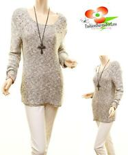 Catalog Women Studded Knit Ivory Black Pullover Tweed Sweater Tunic Top S M L XL