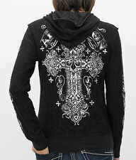 AFFLICTION Women Hoodie Sweat Shirt Jacket REVERSIBLE Versailles Sinful S-XL $98