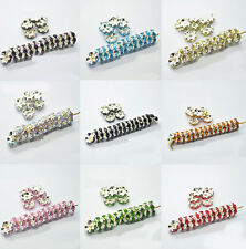 50/100Pcs 8mm Beautiful Silver Plated Czech Crystal Spacer Rondelle Charm Bead