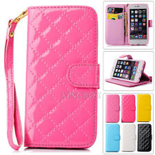 Classic Glossy Quilted Faux Leather Flip Handbag Wristlet Wallet Case For iPhone