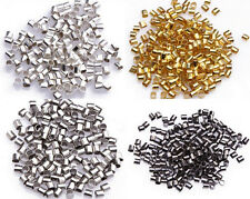 500/1000Pcs Silver/Gold/Black/Bronze/Copper Tube Crimp End Spacer Beads 1.5/2MM