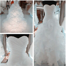 New 2015 White Wedding Dress Organza Long Bridal Gown Stock Size 6-8-10-12-14-16
