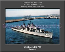 USS Brush DD 745 Personalized Canvas Ship Photo Print Navy Veteran Gift