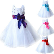 Flower Girl Kid Dress Princess Pageant Wedding Bridesmaid Party Communion 3-10Y