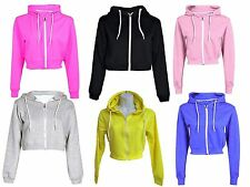 Ladies Plain Zipper Jacket Crop Hoodie