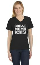 Great Moms Get Promoted To Grandmas - Baby Shower Gift Idea V-Neck Women T-Shirt