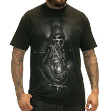 Men's Sullen Grim T-Shirt Black Skeleton Grim Reaper Hourglass Tattoo Art Life