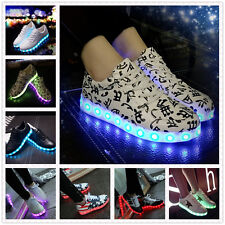 Unisex LED Night Light Couples Men Women Lace Up Casual Shoes Sneakers 8 colors