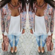 New Women Lady Slim Floral Top Blouse Outwear Parka Trench Coat Jacket