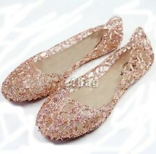 Comfortable Women Summer Ventilate Crystal Shoes Jelly Hollow Sandals Flat Shoes