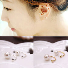 New 2pcs Silver Gold Pearl  Wrap Ear Cuff Earring Cartilage Clip On NO Piercing