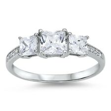 925 Sterling Silver Three Stone Princess Cut Engagement Ring Clear CZ