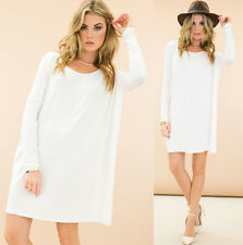 White Long Sleeve Scoop Neck Piko Bamboo Oversized Tunic Tee Shirt Dress NWT