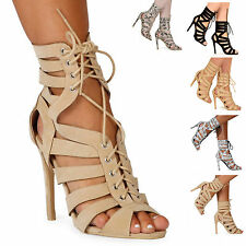 LADIES WOMENS LACE UP CUT OUT SHOES HEELS PARTY EVENING GLADIATOR SANDALS SIZE