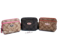 NWT COACH SIGNATURE PVC DOUBLE ZIP COIN WALLET PURSE F63338