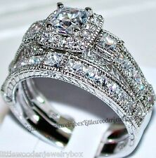 14k White Gold Sterling Silver Princess Square Cut Engagement Ring Wedding Set