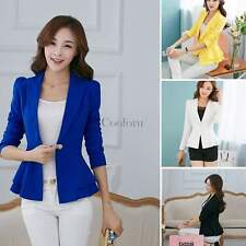 New Women Peplum Business Candy Color Jacket Coat Blazer Suit Outwear Tops CO99
