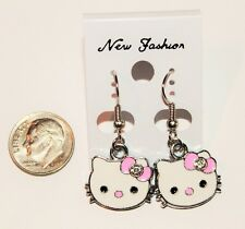 Hello Kitty Face with Single Rhinestone Bow Hook Earrings- Choose Bow Color