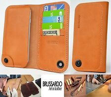 Custom Made Brussardo Elegante Beige Real Leather Case Wallet Samsung Galaxy S6