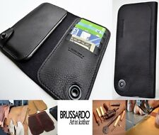 Custom Made Brussardo Elegante Black Real Leather Case Wallet Samsung Galaxy S6