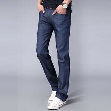 Mens Classic Straight Casual Slim Jeans Pants Fashion Blue Denim Trousers 30-38