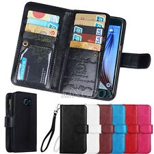 Flip PU Leather 9 Card Slot Holder Wallet Purse Case For Samsung Galaxy S6 /Edge