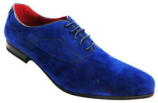Giovanni Wk0145a1 Mens Navy Blue Pointed Toe Low Heel Lace Up Suedette Shoes New