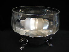 REED & BARTON 183 SILVERPLATE SCALLOPED EDGE FOOTED CENTERPIECE W/CRYSTAL BOWL