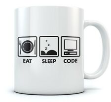 Eat Sleep Code Coffee Mug - Geek Gift Idea - Funny Programmer Coder Tea Cup Mug