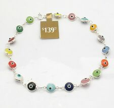 Multi Color Baby Evil Eye Ankle Bracelet Anklet Real Solid 925 Sterling Silver