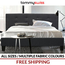 TOMMY SWISS: PREMIUM King Queen Double Cross Stitch Fabric Upholstered Bed Frame