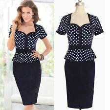 Pinup OL Polka Dot Flouncy Peplum Women Bodycon Party Celeb Wiggle Pencil Dress