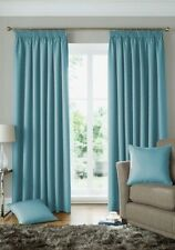 WOVEN JACQUARD SQUARES DUCK EGG BLUE LINED PENCIL PLEAT CURTAINS 9 SIZES
