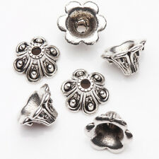 15/30Pcs Tibetan Silver Plated Flower Shape Spacer Bead Caps Findings DIY 9*6mm