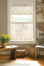 Heritage Lace WOODLAND PATCH Window Treatments White or Cafe Tiers and Valances