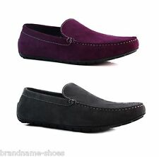 DARK GREY / PURPLE ZASEL MENS SUEDE LEATHER CASUAL PLAIN BOAT DECK LOAFERS SHOES