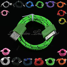 Nylon Braided Fabric USB Data Sync Charge Cable For iPhone 4/4S iPad2/3 iTouch 4
