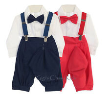 New Baby Boys Red Navy Blue Knickers Vintage Suit Outfit Christmas Wedding USA