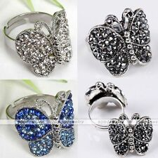 Crystal Rhinestone Silver Plated Butterfly Cocktail Party Adjustable Finger Ring