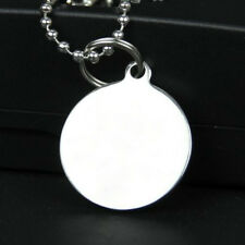 Army ID Name Dog Tag Necklace Military Chain Stainless Steel Silver Solid Round