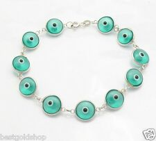 Clear Turquoise Greek Mati Evil Eye Bead Charm Bracelet Real 925 Sterling Silver